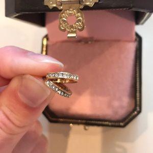Juicy Couture Gold Mini Rhinestone Hoop Earrings
